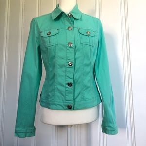 Baccini teal button down jacket